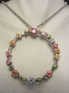 "Pretty Signed Brighton 19"" Silver Tone Necklace 2"" Rhinestone Enamel Pendant A49"