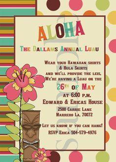 Printable kids luau invitations invites pinterest luau luau baby shower invitation tropical hawaiian hula party brunch stopboris Image collections