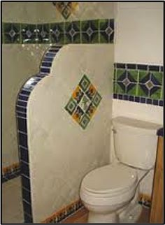 Bathroom Stall In Spanish bathroom shower using mexican tileskristiblackdesigns