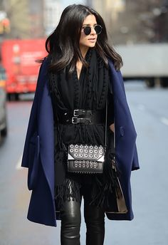 belted scarf and navy coat. #NYFW