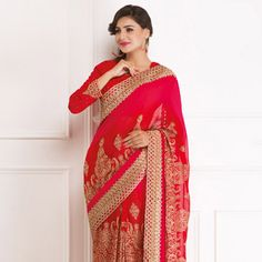 #Red Pure Georgette #Saree with Blouse