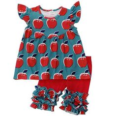 Teal Apple Tunic Top & Ruffle Capri Set is a great unique, boutique complete look for your little. Perfect for back to school, apple picking, or every day wear. School Girl Dress, School Dresses, Girls Dresses, Little Girl Leggings, Girls Leggings, Baby Size Chart, Toddler Girl Style, Toddler Girls, Capri Outfits