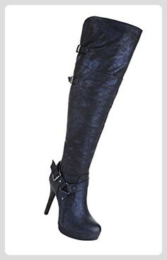 Damen Stiefel Schuhe High Heels Stiletto Overknee Dunkelblau 35 - Stiefel für frauen (*Partner-Link)