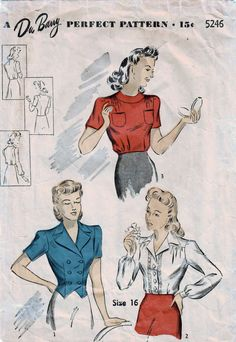 Three fine blouses! Now in my #etsy shop: 1940s Du Barry 5246 Vintage Sewing Pattern Misses Blouse, Shirtwaist Blouse, Fitted Weskit Blouse Size 16 Bust 34 https://etsy.me/2Gv5xbP #supplies #sewing #missesblouse #blousepattern #missesweskitblouse #shirtwaistblouse