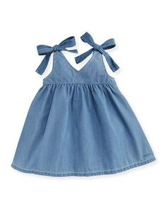 Chloe Denim Effect Sleeveless Dress, Size Months - Kleidung Ideen 2019 Baby Outfits, Kids Outfits, Baby Girl Dress Patterns, Baby Dress Design, Frocks For Girls, Dresses Kids Girl, Dress Girl, Baby Dresses, Short Dresses