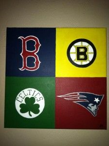 Boston paintings with Red Sox, Patriots, Bruins, and Celtics logos. Also a special Boston skyline painting featuring Faneuil Hall, Hancock and Prudential Buildings.