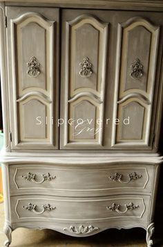 Craigslist - Slipcovered Grey ASCP French Grey, white wash, clear wax Inside: drawers painted SW Creamy, shelves: sheet music mod podged
