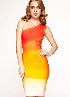 Herve Leger One Shoulder Ombre Bandage Orange Dress