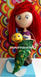 fofucha Ariel, la sirenita. Muñeca hecha de fomi/goma eva/ foamy