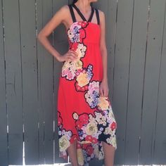 "Leifsdottir for Anthropologie picolina maxi dress! Leifdottir Picolina floral print maxi dress! Size 2 worn once. 13.75"" right underneath the bust line. 16"" chest(armpit to armpit) laying flat. From top of bust, measure down 6"" and that area is 19"" across laying flat(not quite the waist, but this is an empire style) length from top of shoulder strap to the longest part in the back is 56"". Excellent condition! 100 % silk. BUNDLE and SAVE! Anthropologie Dresses High Low"