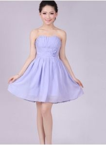 ELISE - A-line Knee length Chiffon Strapless Chinese Cheap Wedding Party Dress