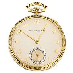 Fancy - Vintage Patek Philippe Yellow Gold & Enamel Men's Pocket Watch