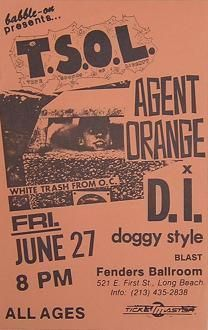TSOL, Agent Orange, DI, Doggy Style punk hardcore flyer