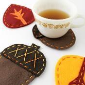 Acorn & Leaf Felt Fall Coasters  - via @Craftsy w/ Free Pattern
