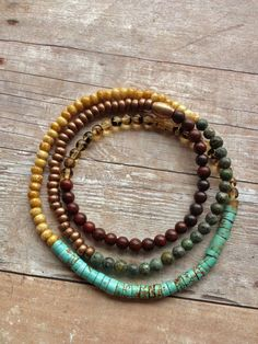 Colorful Boho Stretch Necklace or Triple Wrap by Lammergeier, $22.00