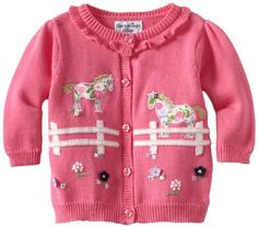 Hartstrings Pink Girls Horses Cardigan Sweater