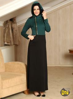 Cepli ve Fermuar Detaylı Elbise – Siyah – Refka Tesettür | Armine | Aker | Kayra | Setrms