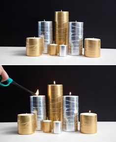 Metallic duck tape completely transforms the look of these candles in this DIY