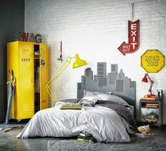 Teen Room Ideas, White Brick Wall, City Background, Yellow Cabinet