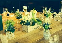 Perfume bottles on dinner table