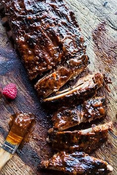 """Spicy Slow-Cooker Ribs — """"Cook them in the crockpot all day long and then just throw them on the grill right before eating. Could not be an easier or more delicious way to do it."""" via @hbharvest"""