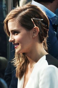 10 Styles To Kick Your Spring-Hair Slump #refinery29  http://www.refinery29.com/spring-hairstyles#slide6  Your coiff-accessory game is probably pretty tired post-polar vortex, but don't let the sunshine make you slack. Let Emma Watson's geometric clips serve as inspiration, and get creative with your hair ware.