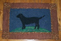 hooked rug with black dog - Google Search
