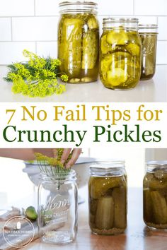 Homemade crunchy pickles are just a jar away with these no-fail tips, no matter what recipe you're using. Even home-canned pickles can be crunchy when you know these secrets. #crisppickles #canningrecipe #dillpickles Crunchy Dill Pickle Recipe, Cucumber Uses, Cucumber Canning, Pickling Cucumbers, Canning Tips, Pressure Canning Recipes, Home Canning Recipes, Pressure Cooking, Canning Vegetables