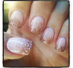 Glitter nails: With a Nude base coat and gold glitter;)