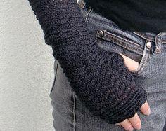 Arm Warmers Pure Merino Zigzac Style Dark Gray Fingerless Gloves Charcoal Mittens