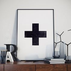 Printable Art Swiss Cross Black and White Home by BitterMoonStudio