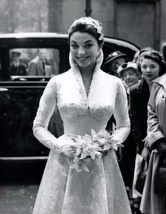 Joan Collins at her first wedding to Maxwell Reed , Vintage celebrity wedding dresses Celebrity Wedding Photos, Celebrity Wedding Dresses, Vintage Wedding Photos, Best Wedding Dresses, Vintage Bridal, Celebrity Weddings, Wedding Styles, Wedding Gowns, Vintage Weddings