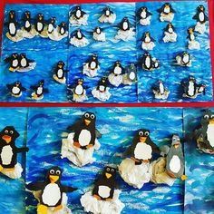 penguins on icebergs. winter penguins on icebergs. Primary School Art, Elementary Art, Art School, Elementary Education, Education Major, Animal Crafts For Kids, Winter Crafts For Kids, Art For Kids, Learn Art