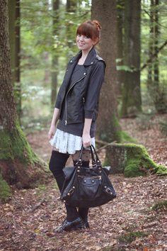 OotD: Leather & Lace (Balenciaga Bag, Amisu Vest & Sweater, Zara Skirt, American Apparel Overkness)