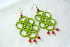 Tatted earrings chandelier lime green lace jewelry by Ilfilochiaro,