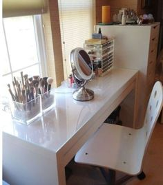 Dressing Table with Drawer Modern White Vanity Make Up Table Desk IKEA Malm | eBay