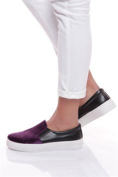Bayan Spor Ayakkabı Mor Süet-Siyah Deri-16Y4106