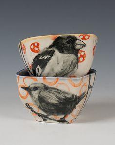 Songbird Bowl Set: Hannah Niswonger: Ceramic Bowls - Artful Home