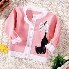 new baby knitted cat cartoon sweater children's cardigan clothes very cute rose red+pink+yellow 7