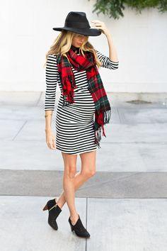 striped dress & plaid scarf // #maternity style