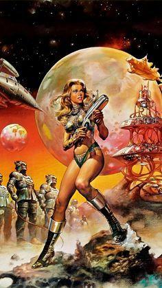 Animated Movie Posters, Movie Poster Art, Barbarella Movie, Arte Pulp Fiction, Arte Alien, Templer, Mundo Comic, Space Girl, Futuristic Art