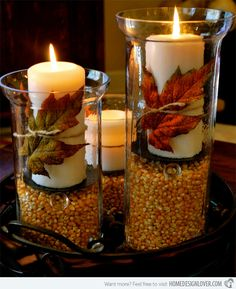 Cool Autumn Table Decorations With White Candles On Seed Corn In Tube Glass Vase Design