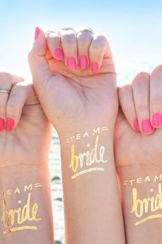'Team Bride' Temporary Tattoo by Day Dream Prints at Sash & Bustle #sashandbustle #gifts  #daydreamprints  #card #cards #torontodesigned   #giftsforbachlorette  #bride #themaids #showergift #bachlorettegifts #lovetemporarytattoos #bridesmaidsgifts #giftsforthebride #cardsforbridesmaids #bestbabecard #cheekycards #funcards #bachloretteparty #temporarytattoo