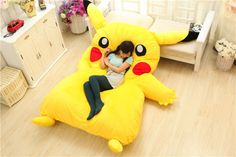 Squeal! Who wouldn't want to sleep on a giant Pikachu?