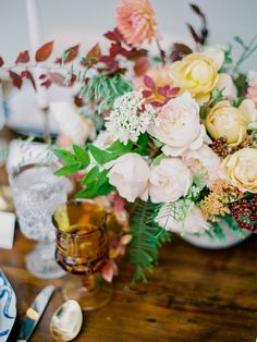 Wedding table setting for Autumn | more sodazzling.com | Shelldance Orchid Garden Inspiration from Daniel Kim Photography - danielkimphoto.com