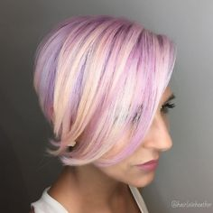 Cotton candy bob for fine hair