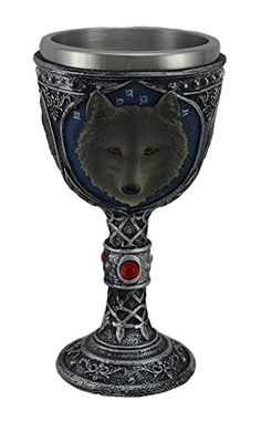 Wolf Head Wine Goblets Ossuary Chalice Resin Body Stainless Steel 9.5""