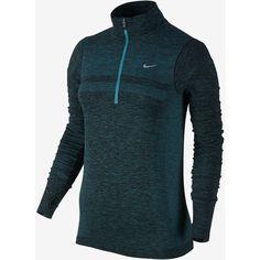 Nike Dri-FIT Knit Half-Zip Women's Running Shirt. Nike.com ($125) ❤ liked on Polyvore featuring activewear, activewear tops, nike activewear, nike, blue shirt, dri fit shirts and nike sportswear