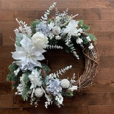 Winter White Wreath, Holiday Wreath, Christmas Wreath, Winter Wreaths for Front Door, White Christma White Wreath, Diy Wreath, Grapevine Wreath, Wreaths For Front Door, Holiday Wreaths, Winter Wreaths, Advent, Christmas Crafts, Christmas Decorations