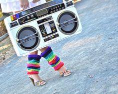 Rainbow Leg Warmers 80's Style Crochet Leg Warmers